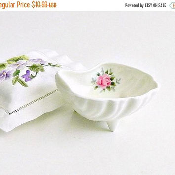 ON SALE Vintage China Ring Dish, Trinket Dish, English Bone China, White Shell Dish, Pink Roses, Vintage  Jewelry Dish.