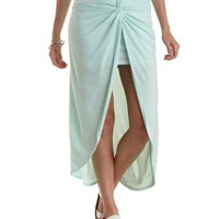 Mint Double-Knotted High-Low Skirt by Charlotte Russe
