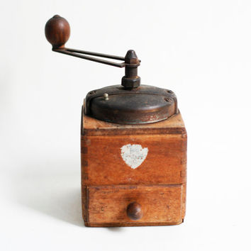 Peugeot coffee grinder, vintage French coffee mill, French kitchen decor, vintage French decor, rustic antique wooden coffee grinder