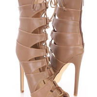 Light Brown Strappy Peep Toe Sandal Booties Faux Leather