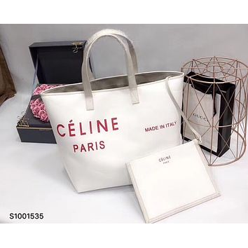 Celine 2018 new minimalistic casual style canvas holiday shopping bag canvas bag handbag F0425-1 White+red letters
