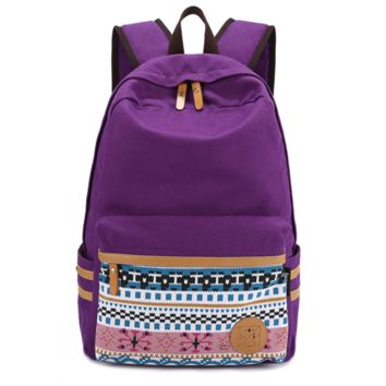 Purple Exotic Daypack Ethnic Bookbag Canvas Casual Backpack Travel Bag
