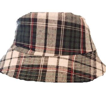 Mens Womens Green Check Bucket Hat Cotton Fishing Camping Camo Cap Stripe Boonie