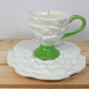 Vintage Teleflora White Rose Teacup Soy Candle/Wedding Bride Candle Gift/Teacup Candle/Floral Cup and Saucer Candle