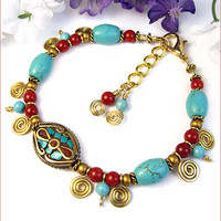 Colorful Tibetan Bead Bracelet, Turquoise Coral Brass Inlay, Handmade, Adjustable