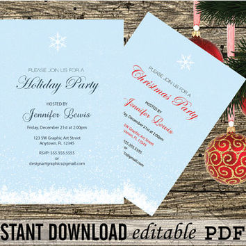 DIY Christmas Snowflakes Party Invitation Printable Editable PDF Templates - Birthdays&Holidays Invitation 5x7 Editable PDF - DiY You Print