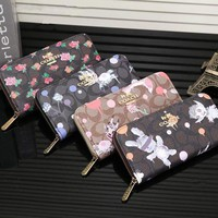 DCCK6HW Coach' Women Purse Fashion Cartoon Floral Print Zip Long Section Wallet Hand Bag