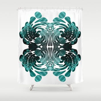 Abstract black and teal  Shower Curtain by VanessaGF
