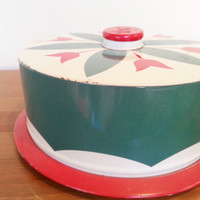 Cake Plate, Mid Century Modern, Cake Stand, Vintage 1950s Kitchen, Mod Tin Litho Cake Carrier, FREE US Shipping