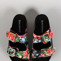 Wild Diva Floral Double Buckle Flatform Slip On Sandal