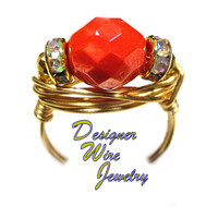 DWJ0565 Breathtaking Coral Shimmer Czech Art Glass Gold Wire Wrap Ring All Sizes