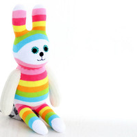 Stuffed Easter Bunny Stuffed Animal Cute Plush Toy Bunny Kawaii Plushie Bunny the Snuggly Cuddly sock Toy (F)   4#   Ready to Ship