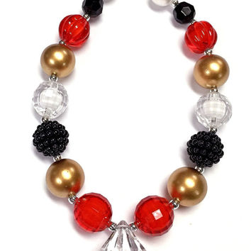 Red Gold Black Bubblegum Chunky Necklace Baby