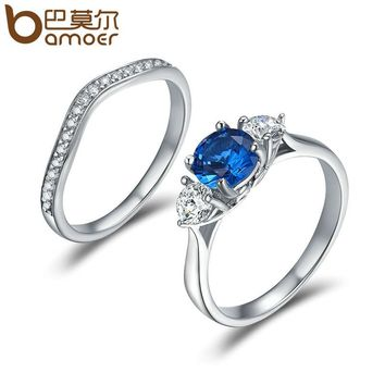 Elegant Silver Color Blue Dreamland Clear CZ Crystal Geometric Rings for Women Wedding Engagement Jewelry YIR189