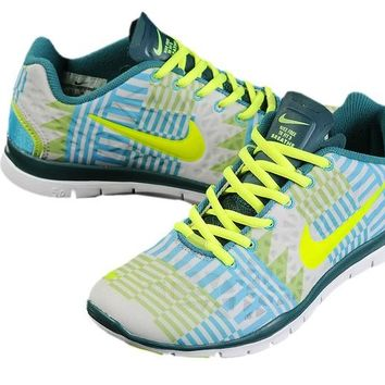 Women's Nike Free TR FIT 3 Print Geometry Limited Training Shoes Green/Blue/Flurorescent Green
