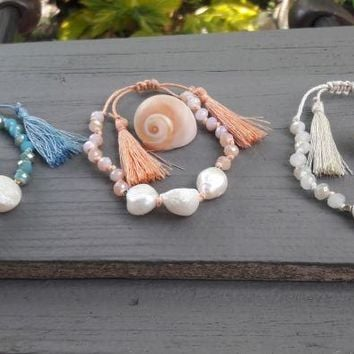 Freshwater Pearls With Beaded Tassel-In Stock