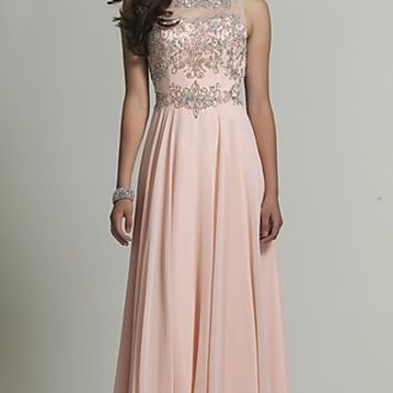 Beaded Long Blush Pink Prom Dress by Dave and Johnny