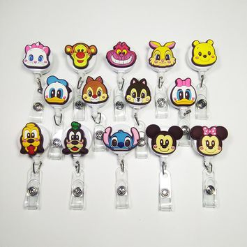14pcs/lot Silica gel lovely animal team Badge Reel  Bus card student nurse ID Name Card Badge Holder 60cm Retractable Reel