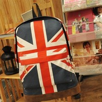 Canvas Olympic Games UK Flag Union Jack Style Backpack Bag Women Boy Student Men