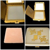 Dorset Fifth Avenue Compact Powder Mirror Diamond Cut Etched Two Tone
