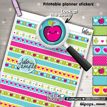 Printable Planner Stickers, Washi Tape, Erin Condren, Kawaii Stickers, Work Stickers, Life Planner, Instant Download, Planner Accessories