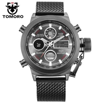 TOMORO Brand Hot Fashion LED Sports Men's Quartz Digital Clock Watches Man Milanese Strap Military Waterproof Big Crown Watch