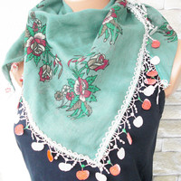 Summer Scarf -  Printed Scarf - Floral Scarf - Turkish Scarf - Yemeni Scarf - Traditional Scarf - Green  Scarf   Women Accessories