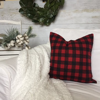Red Black Buffalo Plaid Flannel Pillow Cover - Red Black Check Pillow, Farmhouse Decor, Farmhouse Pillow, Buffalo Check, 16 x 16, 18 x 18