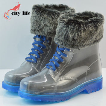 Winter Warm Rain Boots Women Fashion British Water Shoes Thick Sock Flat Transparent Rainboots Lace-Up High-Top Botas Mujer