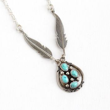 Vintage Sterling Silver Turquoise Blue Stone & Leaf Motif Necklace - Retro 1970s Native American Tribal Cluster Jewelry