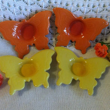 Butterfly Tealight Candle Holders Ceramic Orange Yellow Ring Trinket Dishes Wedding Table Butterflies Home Shower Decorations