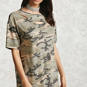 Distressed Camo Print Dress