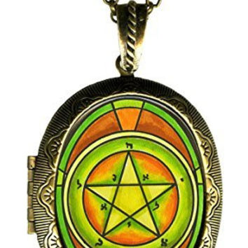 Solomons 1st Mercury Seal for Personal Magnetism Xl Locket Gold Bronze
