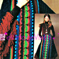 RARE 1970s Poncho Skirt Torso Hugger Instant Download PDF Vintage Crochet Pattern Club Resort Holiday Hard to Find Hippie Boho Country Chic