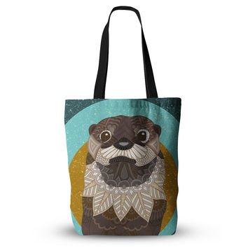 "Art Love Passion ""Otter in Water"" Blue Brown Everything Tote Bag"