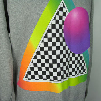 90s Style Beta Unit Rainbow Psychedelic Experimental Space Pride Rave Grey Gay Oversized Geometric Black and White Long Sweater Top