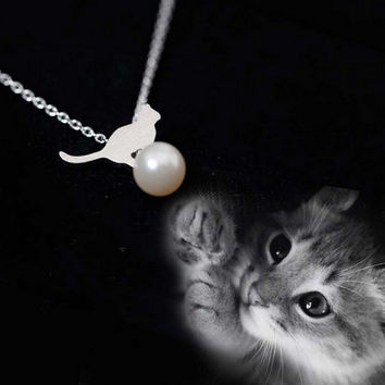 Womens 925 Silver Cat Pearl Pendant Necklace + Gift Box Jewelry-75