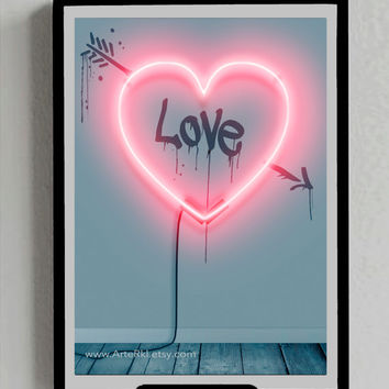 Valentines Day, Gift for him, her, Lovers, Heart, Poster, INSTANT DOWNLOAD, Neon, Sign, Love, Decor, Wall, Room