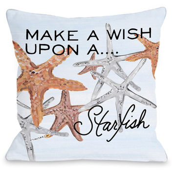 """Wish Upon A Starfish"" Indoor Throw Pillow by Timree Gold, 16""x16"""