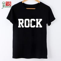 ROCK Letter Print Women Tshirts 2016 New Design Casual Tops Tees For Lady Harajuku Clothes O-Neck T-Shirt Hipster Street Wear