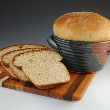 Bread Crock, 12 RECIPES included, The Original Bread Baker by Neal Pottery, Featured in Midwest Living Magazine, Tri-Color Glaze