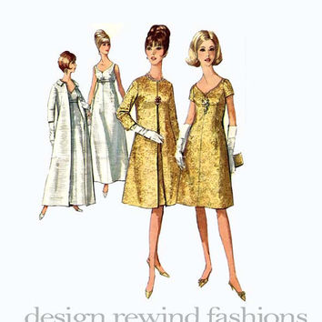 1960s Glam Evening Cocktail Wedding Dress Gown w/ Sweetheart Neckline & Coat - 2 Lengths Simplicity 6219 Bust 34 Mod Vintage Sewing Patterns