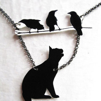 Birds and Black Cat Necklace Silhouette Pet by whatanovelidea