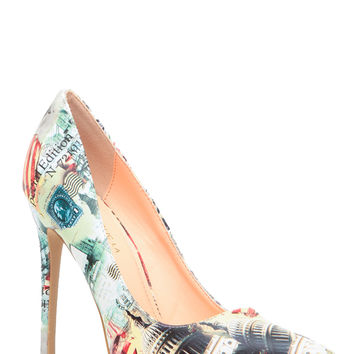 City Print Faux Leather Pointy Toe Classic Pumps