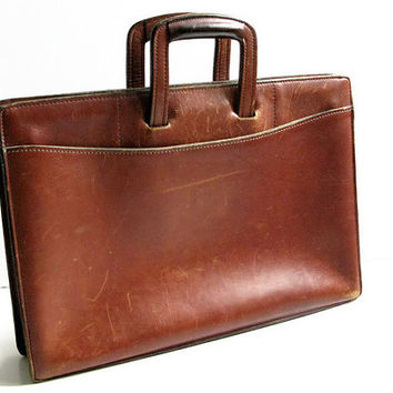 Vintage Brown Leather Attache Briefcase, Schlesinger Brothers California Saddle Leather Briefcase