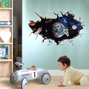 3D Outer Space Planet Wall Sticker For Kids Room Decor Galaxy Astronaut Mural Decals Home Living Room Decoration Removable