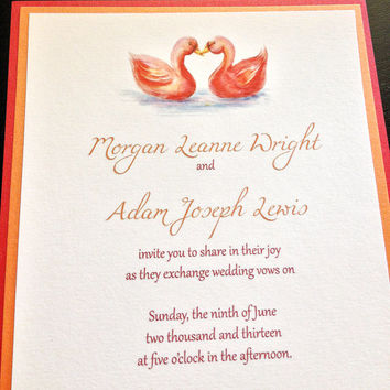 Signature Wedding Linen Invitation RSVP Hand Painted Swan Duck | Red Orange Wedding | Cotton Invitation Suite | Set of 25