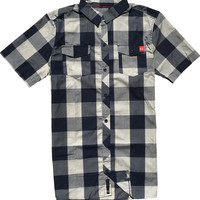 Porter Woven Top Navy Plaid (SM)