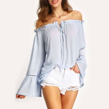Off the Shoulder Flounced Sleeve Lace Up Blouse