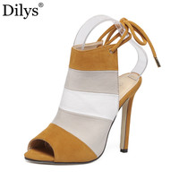 Women Peep Toe 11cm High Heels Shoes Mixed Colors Cut-outs Slingback Rainbow Woman Sandals Boots Tacones Party